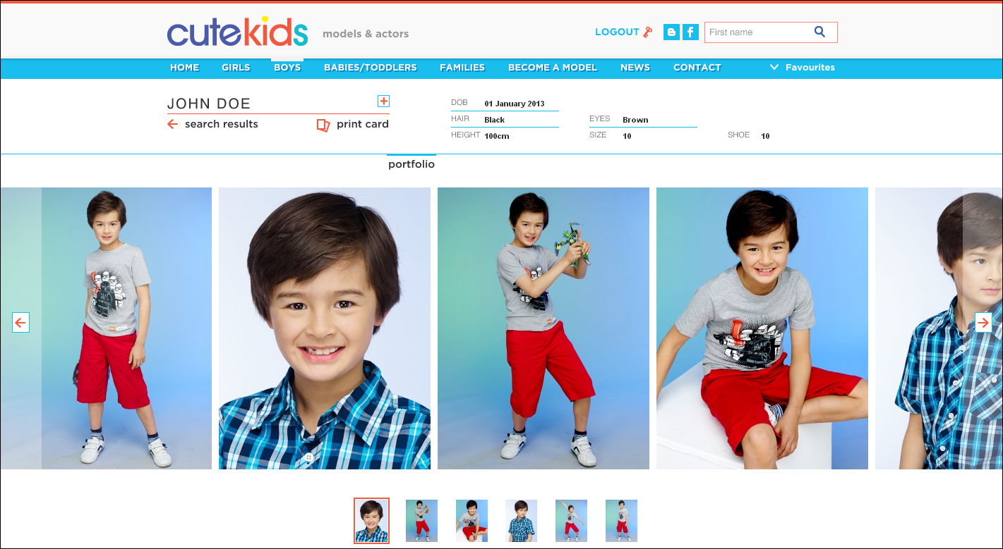 What will my Cute Kids model card look like? Your child's Cute Kids  compcard will consist of 5 photos that are included on their profile.